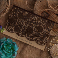 Wholesale Vintage Wedding Invitation Cards Dark Brown Laser Cut Birthday Greeting Invitations with Envelopes Party Event Supplies