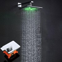 Wholesale high quality brass chrome plated inches Temperature control RGB led bathroom shower faucets