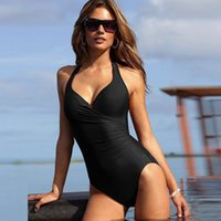 best slimming swimsuits - best selling new Black Striped Swimwear Women Vintage Classic Sports One Piece Swimsuit Sexy Backless Slimming Bandage Bathing Suit Monokini