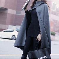 Wholesale Autumn winter clothes new wave hooded woolen cape coat jacket women coat long shawl plus size S XL fashion cloak Windbreaker jacket