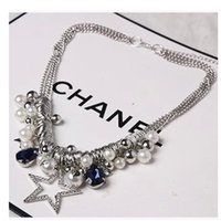 big chunky silver necklace - 2016 New Fashion Jewelry For Women Big Pentagram Silver Beads Pearls Statement Necklace Chunky Chain Crystal Choker Bib Necklaces Pendants