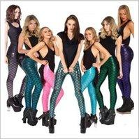 Wholesale DHL Color Novelty Fish Scale women Mermaid leggings Mermaid Fitness leggings punk pants Plus Size Anti exposure trousers E1079