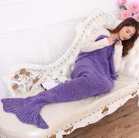 hand knitted - Super Soft Hand Crocheted cartoon Mermaid Tail Blanket Sofa Blanket air condition blanket siesta blanket X90cm LJJL166