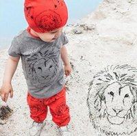 baby lion for sale - 2016 Fashion baby clothing baby short sleeve clothing sets Hot sale lion design Baby top pant suit for years baby