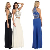 beautiful prom dresses - Beautiful Long Piece Prom Dresses Designer Sexy High Neck Sleeveless Crystals Beaded Jersey Mermaid Evening Pageant Dresses Olesa