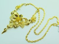 Cheap Pure 999 24K Yellow Gold Necklace  Elegant Big Flower Chain Necklace  32.5g
