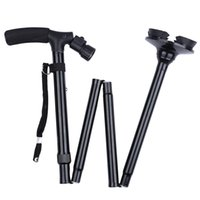 Cheap 2016 Trekking Poles Hiking Aluminum Alloy Folding Walking Sticks T-handle Alpenstock Stick Canes With LED Light For Outdoor Camping Climbing