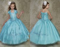 Wholesale Special Occasion Dresses Teens - Baby Blue Girls Pageant Dresses 2017 Embellished Sequined Bling Beaded Organza Ball Little Girls Dresses Special Occasion Dresses For Teens