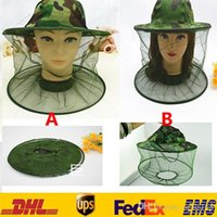 Unisex Printed Summer New Mosquito Resistance Bug Net Mesh Head Face Protector Cap Sun Anti-bee Outdoor Fishing Camouflage Wide Brim Hats With Lace Tulle FB-H01