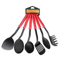 Wholesale 6Pcs Set High Temperature Non stick Pan Dedicated Color Handle Spatula Kitchen Cooking Tools Set Black Nylon Spatula Set