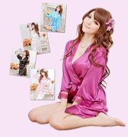 Wholesale NEW colors Sexy Lingerie Satin Sleepwear Silk Detail Robe Sexy Sleepwear Nightdress Nightwear