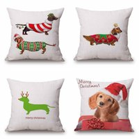 Wholesale Christmas Festival Dachshund Cushion Cover X45cm Happy Birthday Sausage dog Pillow Cases Kids Gift Bedroom Sofa Decoration