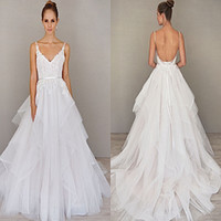 alvina valenta wedding - Spaghetti Straps A Line Wedding Dresses Backless Sweep Train Organza Wedding Gown Alvina Valenta Bridal Gown