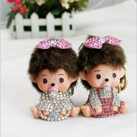 bague stainless steel - Monchichi sleutelhanger Rhinestone Monchhichi gold metal keychain creative Crystal Key Holder Ring Bague porte clef