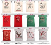 Wholesale 2017 Christmas Large Canvas Monogrammable Santa Claus Drawstring Bag With Reindeers Monogramable Christmas Gifts Sack Bags L001