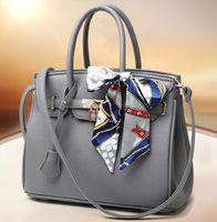 Wholesale Realer brand luxury Litchi handbags women bags designer handbag with scarf lock shoulder messenger bags fashion pink blue tote bag