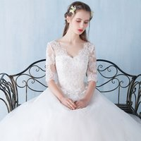 Wholesale 2016 summer new bride wedding dress married Qi sleeve Korean yards was thin female v neck straps New Arrivals Qi Puff wedding
