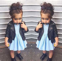 american leather coat - 2016 childrens PU Jacket coats Long Sleeve Kids Girls PU Leather Jacket Beads Zipper Lace Chiffon Kids Apparels Children Clothing