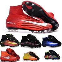 Wholesale 2016 Mercurial Superfly CR7 FG Kids Soccer Shoes Hypervenom Phantom Football Cleats Womens Soccer Boots Cheap Original Football Shoes