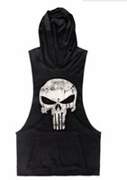 Wholesale Punisher Skull Hoodies Bodybuilding Stringer Gym Vest Hoodie Fitness Loose Clothing Tank Top Men Clothing Mucline