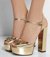 ballet strap - 2016 Real Image Gold Wedding Shoes Sexy Square Heels Buckle Strap Summer Womens Sandasl Back Strap Plus Size Party Evening Shoes