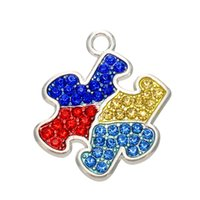 autism jewelry wholesale - Rhodium Multicolored Crystal Autism Awareness Bracelet Charms Puzzle Piece Jigsaw Pendant diy Jewelry Making