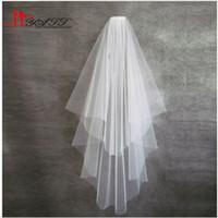 Wholesale Hot Sale Cheap Simple Spain White Ivory Elbow Wedding Veil T Cut Edge Short Bridal Veil Comb Real Picture Show