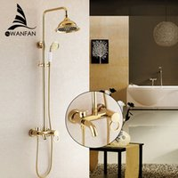 Wholesale Luxury Antique Style Gold Brass Bath Tub Faucet Ceramic Handle Handheld Shower Head Faucet Mixer TapHJ K