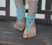 Wholesale Bridal Beach Pool Wear Crochet Barefoot Cotton Barefoot Sandals Bracelet Colorful Heels Anklets for Women Sexy Body Jewelry Gift
