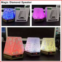 Wholesale Magic Speaker LED Flash Light Stone Crack Pattern Diamond Design Bluetooth Outdoor Speakers Subwoofers Mini speaker support TF card FM radio