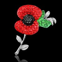 Wholesale Fashion Jewelry Pin Red Crystal Rhinestone Poppy Flower Brooch Pins UK Remembrance Day W Breastpin Gift TOP