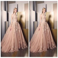 Wholesale 2016 New Elegant Light Pink Ziad Nakad Evening Dresses Lace Appliqued Jewel Sleeveless A Line Prom Party Gowns Sweep Train Celebrity Dress