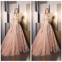 Wholesale 2017 New Elegant Light Pink Ziad Nakad Evening Dresses Lace Appliqued Jewel Sleeveless A Line Prom Party Gowns Sweep Train Celebrity Dress