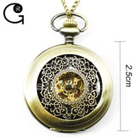 Wholesale Pendant Mechanical Pocket Watch GR New Steampunk Retro Bronze Quartz Small Size Men Women Best Gift For Mother