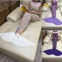 Wholesale ADULT Mermaid Tail Blanket Sofa Blanket Super Soft Mermaid sleeping bags Hand Crocheted Blanket Air conditioning blanket cm
