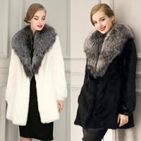 Wholesale Deluxe Rabbit Fur Coat Petite Women Formal Winter Outwear Overcoat Long Sleeve Fox Fur Shawl Long Coats Jackets White Black