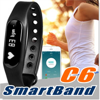 Wholesale Fitness Tracker C6 Smart Wristband Bluetooth Heart Rate Monitor Call SMS Reminder IP65 Waterproof Mini Band with OLED Screen with Box
