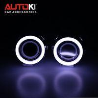 Wholesale Autoki quot HID Bi xenon Projector Lens LHD RHD HID Bulb Ballast Cotton Angel Eye for Car Headlight Retrofit Kit Full Set
