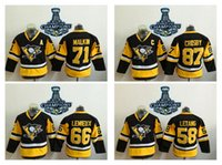Wholesale Youth Pittsburgh Penguins Sidney Crosby Black Champions Hockey Jersey Kids Hockey Jerseys Stitched Stanley Cup Champions Patches