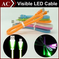 flat data cable light - Visible LED Light Micro USB Sweet Candy Cable m ft Flat Noodle Charger Sync Data Extra Charging Lighting Line Adapter For Samsung HTC New