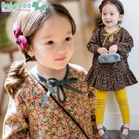 baby dressing up outfits - Bebezoo children outfits autumn babay girls lace up bows floral falbala long sleeve dress cartoon leggings sets babies clothes A9453