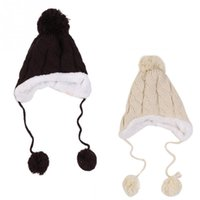 Wholesale Fashion Children Cap Twist Plus Velvet Ear Baby Hat Cap Wool Knitted Hat Kids