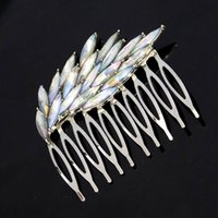 Wholesale Colorful Crystal Comb - Fascinating And Fashion Silver Plated Colorful Crystal Wing Hair Combs Trendy Hair Accessories For Women Bridal Hair JewelryDHF373