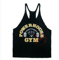 Wholesale Power House Print cheap Gym Singlet Y Back Singlet tank top for men golds vest tops