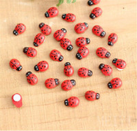 Wholesale 10x Miniature Ladybird Ladybug Garden Ornament Figurine Fairy Dollhouse DIY
