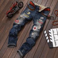 Wholesale Summer High Quality Jeans Men Robin Biker Ropped Denim Badges Pomo holes Stretch Pencil Skinny Pants Cotton Blue Size29 LS778