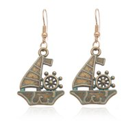 antique boat accessories - 2016 Bohemian Ancient Ethnic Vintage Antique Bronze Green Drop Earrings Gipsy Punk Boat Anchor Dangle Earrings for Women Jewelry Accessories