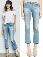 ag jeans - 2016 Ag Flare Skinny Ripped Capris Women Slim Jeans Ninth Pants Contrast Colors Tassel Leg Opening Nice Light Blue Very Good Fabric Hot sell