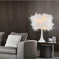 Wholesale Modern Fashion Feather Table Lamp Bedside Light Decoration Desk Lamp Creative Bar Hotel Table Lamp