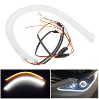 angels eyes rohs - 2pcs CM Flexible Headlight Daytime Lamp White And Yellow Switchback Strip Angel Eye DRL Decorative Light With Turn Signal
